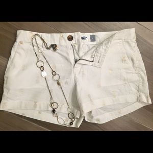 Old Navy white shorts & BR necklace
